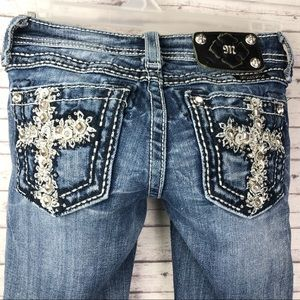 Miss Me Bling Cross Pocket Bootcut Jeans Girls 8